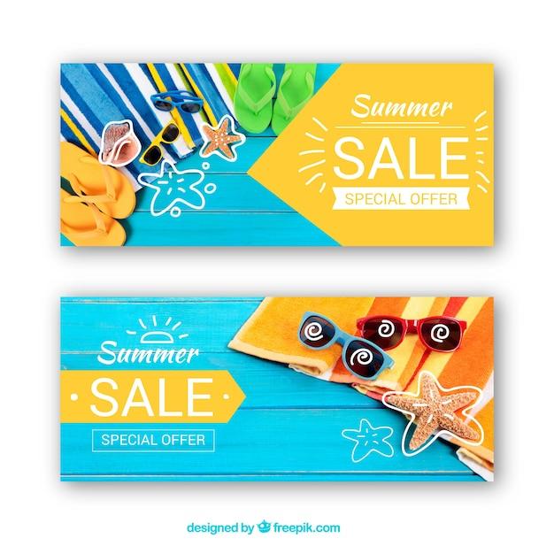 Ensemble de bannières de vente d'été avec photographie Vecteur gratuit