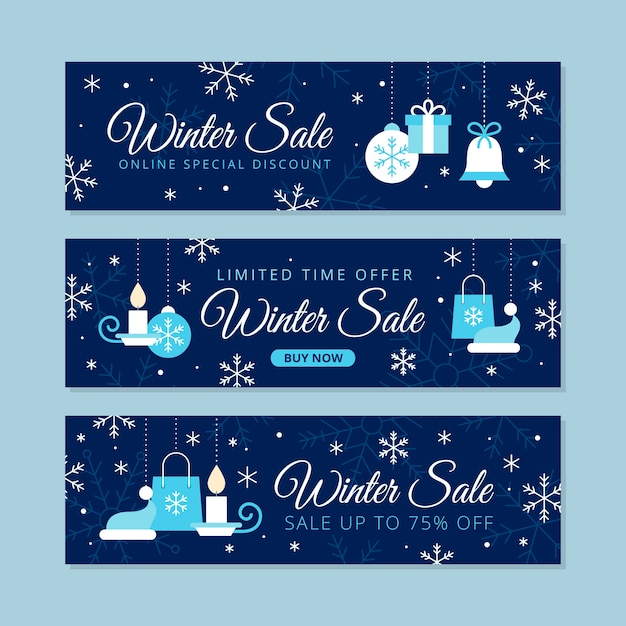 Ensemble de bannières de vente hiver plat Vecteur gratuit