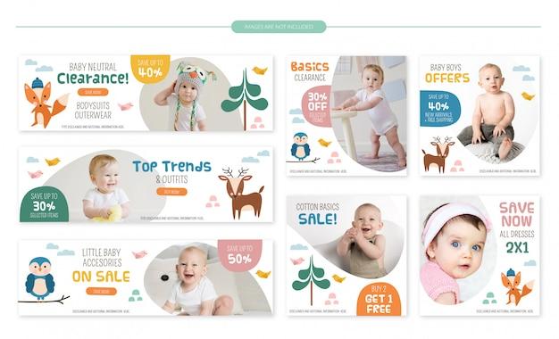 Ensemble de bannières de vente pour bébé - animaux de la forêt Vecteur Premium