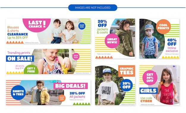 Ensemble de bannières de vente de vêtements pour enfants Vecteur Premium