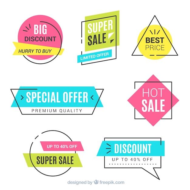 Ensemble de bannières de vente Vecteur gratuit