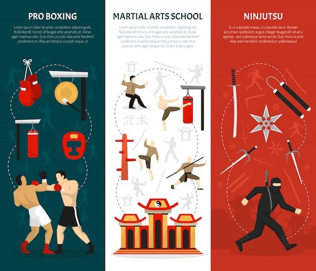 Ensemble de bannières verticales arts martiaux Vecteur gratuit