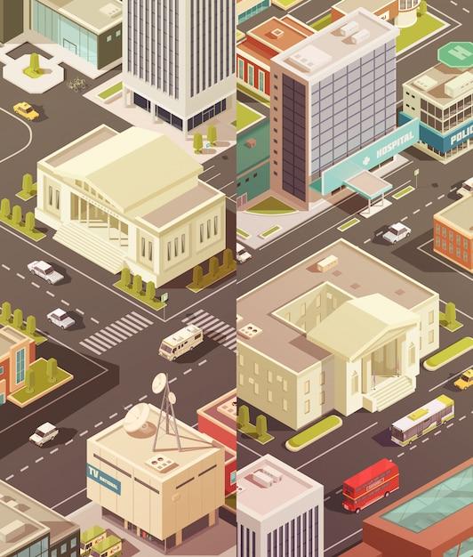 Ensemble de bannières verticales isométriques de bâtiments gouvernementaux Vecteur gratuit