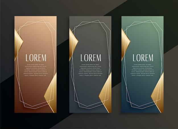 Ensemble de bannières verticales d'or de luxe vintage Vecteur gratuit