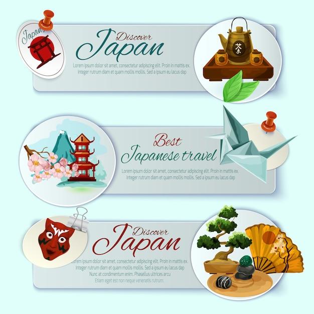 Ensemble de bannières de voyage au japon Vecteur gratuit