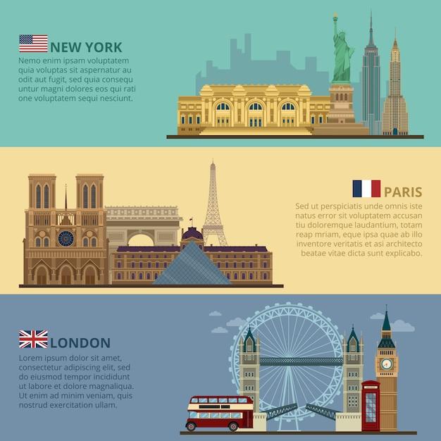 Ensemble de bannières de voyage horizontales - new york, paris et londres Vecteur Premium