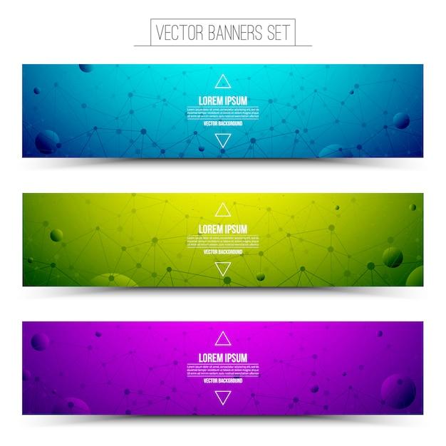 Ensemble de bannières web coloré de technologie vecteur Vecteur Premium