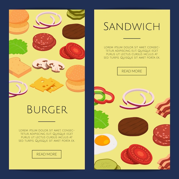 Ensemble De Bannières Web Isométrique Burger Ingrédients Vecteur Premium