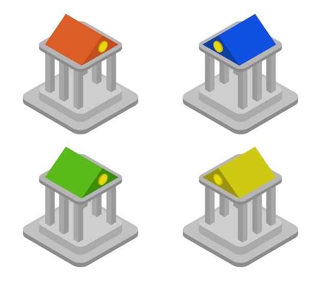 Ensemble De Banques Isométriques Vecteur Premium