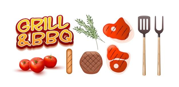 Ensemble barbecue et barbecue Vecteur Premium