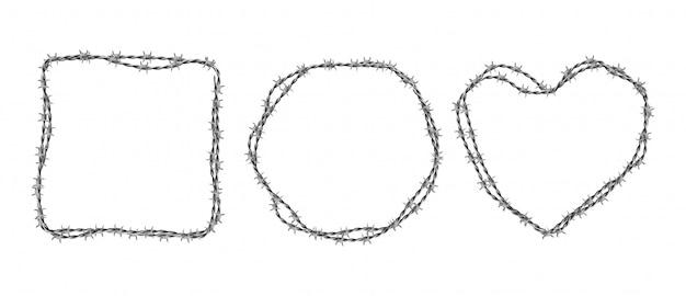Ensemble De Barbelés En Acier. Cadres En Forme De Cercle, Carré Et Coeur à Partir De Fil Torsadé Avec Des Barbes Isolé Sur Blanc Vecteur gratuit