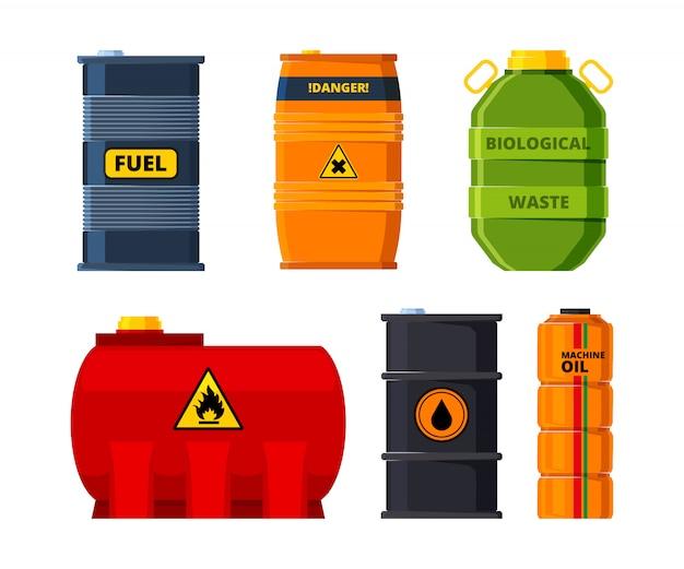 Ensemble de barils de pétrole ou de carburant toxique Vecteur Premium