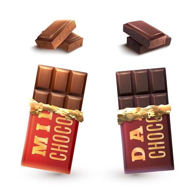 Ensemble de barres de chocolat Vecteur gratuit
