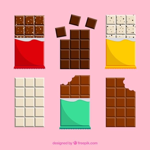 Ensemble de barres et de morceaux avec différents chocolats Vecteur gratuit