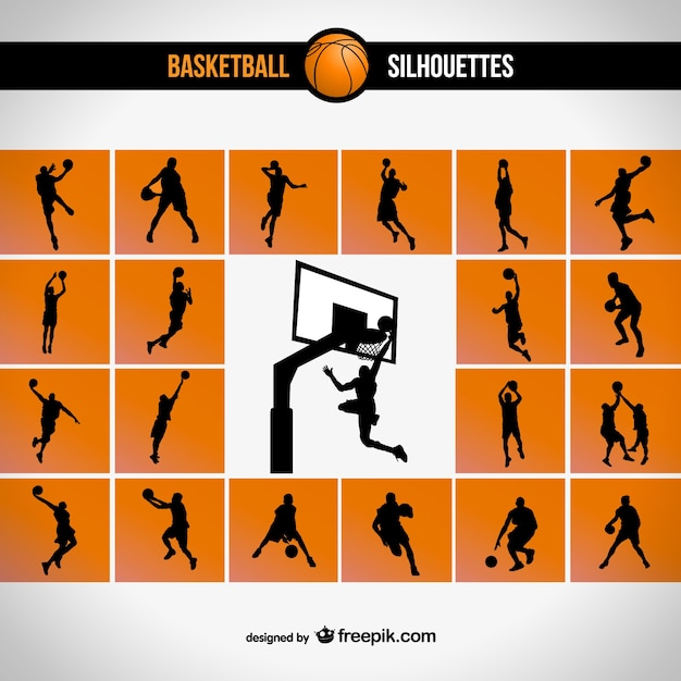 Ensemble de basket-ball silhouette Vecteur gratuit