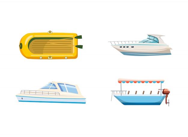 Ensemble de bateaux. ensemble de dessin animé de bateau Vecteur Premium