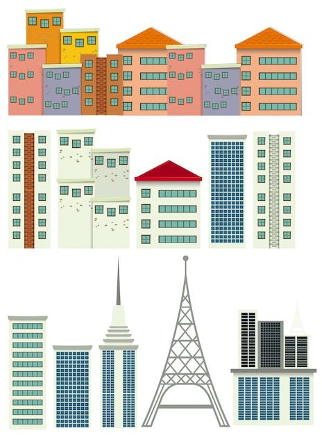 Un ensemble de bâtiment moderne Vecteur gratuit