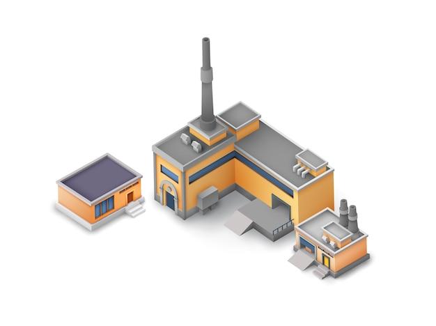Ensemble De Bâtiments Industriels Isométriques Vecteur gratuit