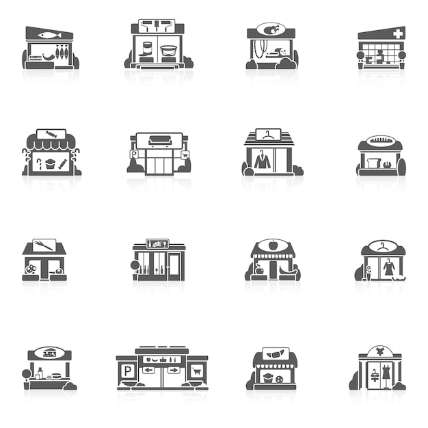 Ensemble de bâtiments de magasin Vecteur Premium