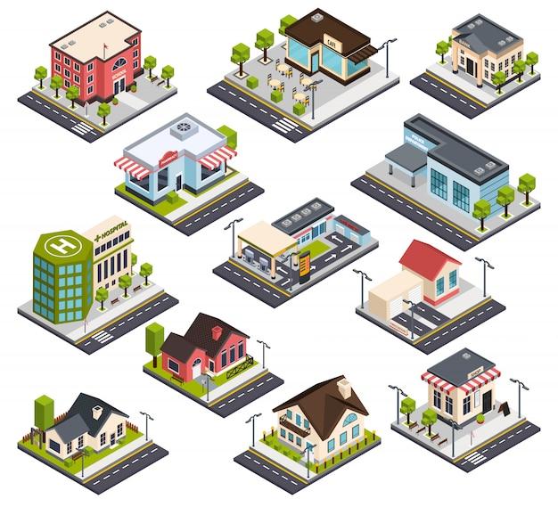 Ensemble de bâtiments de ville isométrique Vecteur gratuit
