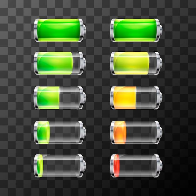 Ensemble de batterie brillante avec différents niveaux de charge isolés Vecteur Premium