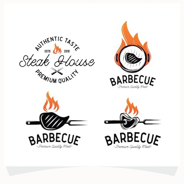 Ensemble De Bbq Steak Grill House Logo Vecteur Premium