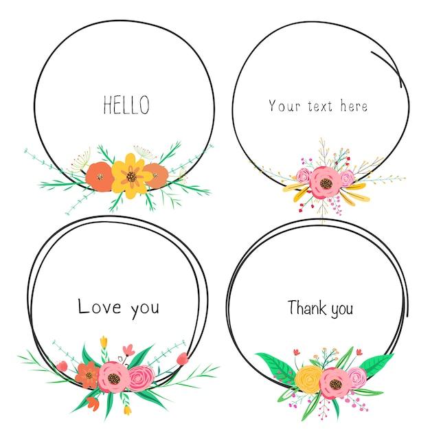 Ensemble de beaux cadres ronds avec des fleurs pour la décoration Vecteur Premium