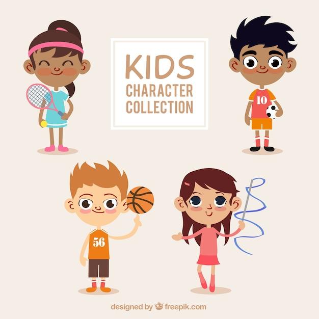 Ensemble de beaux enfants avec des éléments sportifs Vecteur gratuit