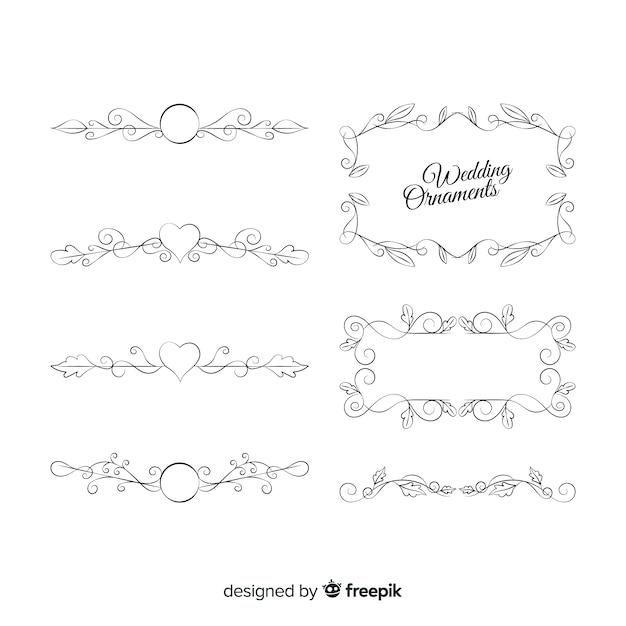 Ensemble de beaux ornements de mariage dessinés à la main Vecteur gratuit