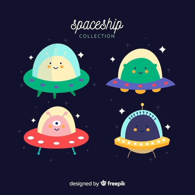Ensemble de beaux vaisseaux spatiaux Vecteur gratuit