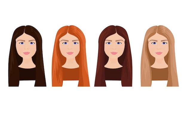 Ensemble de belle jeune femme visages aux cheveux longs de différentes couleurs isolé Vecteur Premium