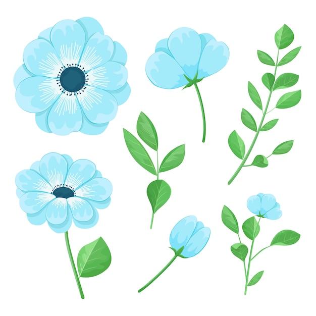 Ensemble de belles fleurs bleues Vecteur Premium