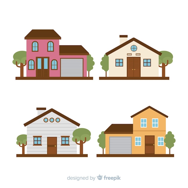 Ensemble de belles maisons Vecteur gratuit