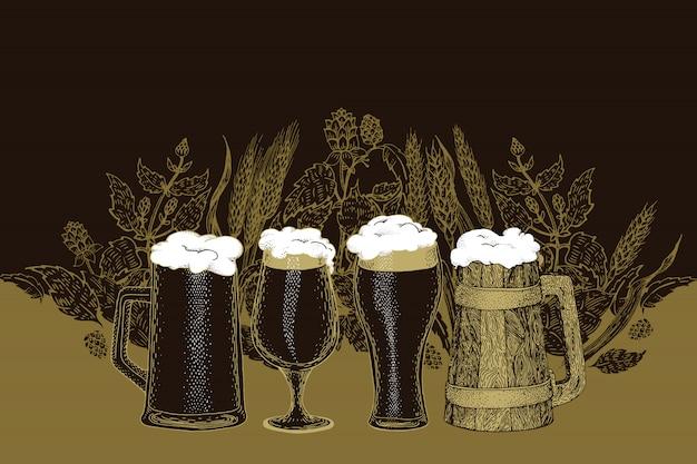 Ensemble de bière. illustration vectorielle dans le style de croquis. modèle de bannière de bière dessinés à la main. rétro Vecteur Premium