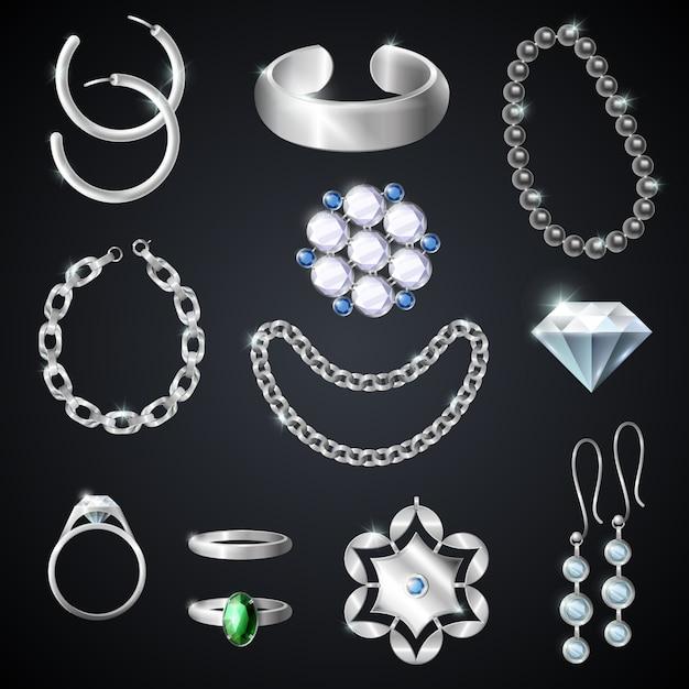 Ensemble de bijoux en argent Vecteur gratuit