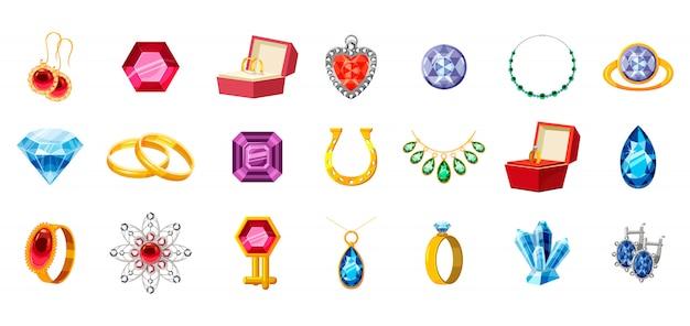 Ensemble de bijoux. dessin animé de bijoux Vecteur Premium
