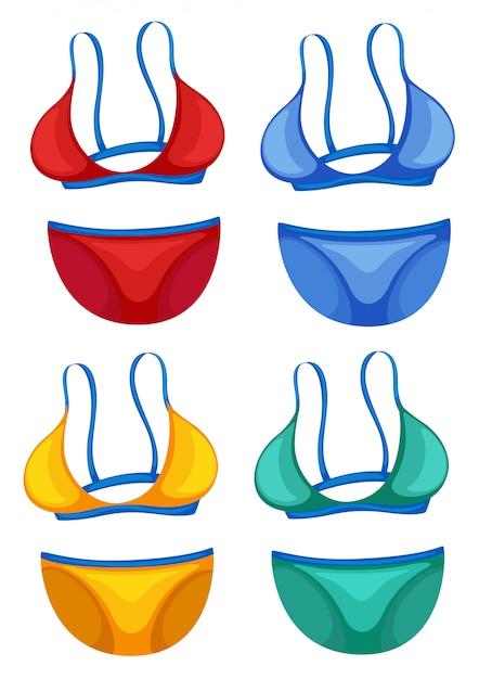 Ensemble De Bikini De Couleur Différente Vecteur gratuit