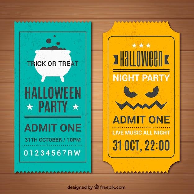 Ensemble de billets vintage halloween Vecteur gratuit