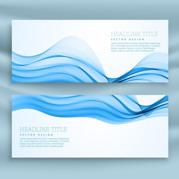 Ensemble de bleu bannières modèle pour thème d'affaires Vecteur gratuit
