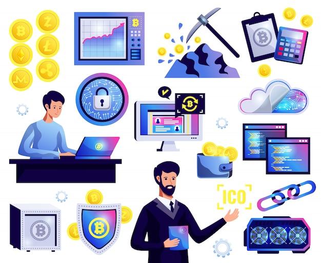 Ensemble De Blockchain De Crypto-monnaie Vecteur gratuit