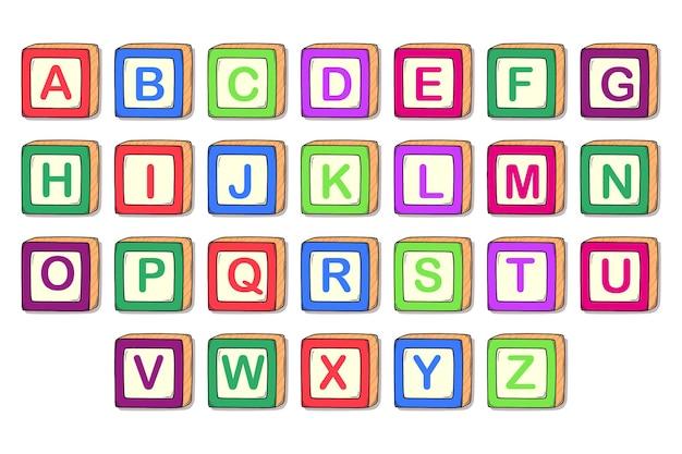 Ensemble De Blocs D'alphabet Mignon Vecteur Premium