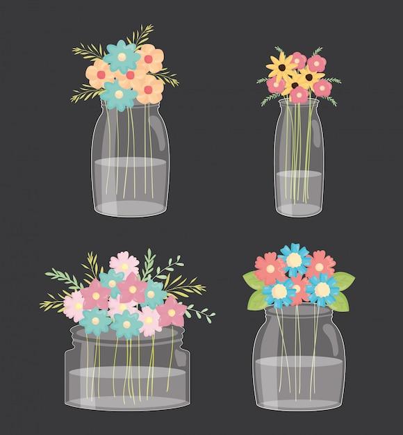 Ensemble de bocaux mason à décor floral Vecteur Premium
