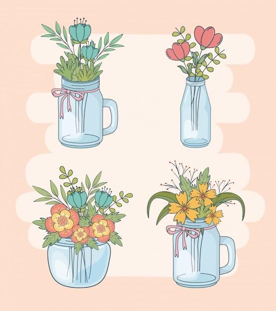 Ensemble de bocaux mason avec décorations florales Vecteur Premium