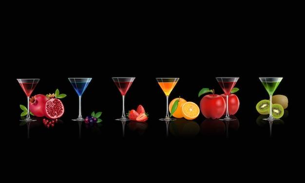 Ensemble de boisson, fruits frais juteux pour la santé en été. illustration vectorielle Vecteur Premium