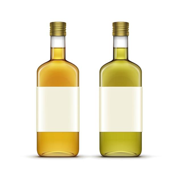 Ensemble De Boissons Alcoolisées Boissons Bouteilles En Verre D'huile De Whisky Vecteur Premium