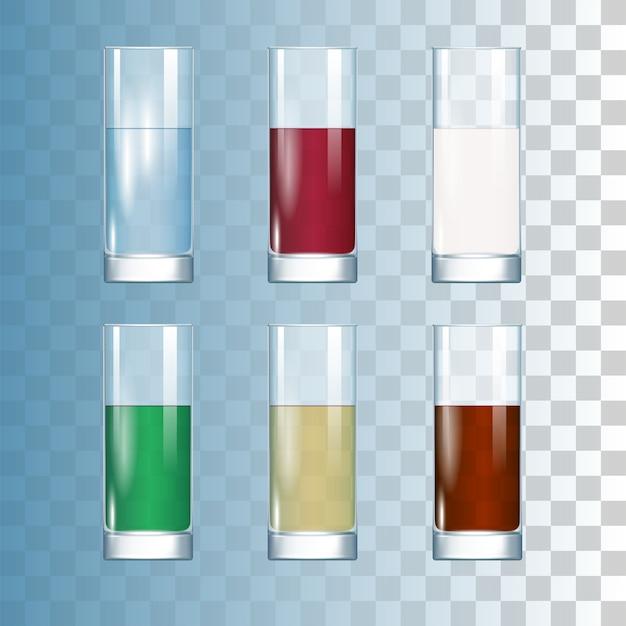 Ensemble de boissons dans les verres Vecteur Premium