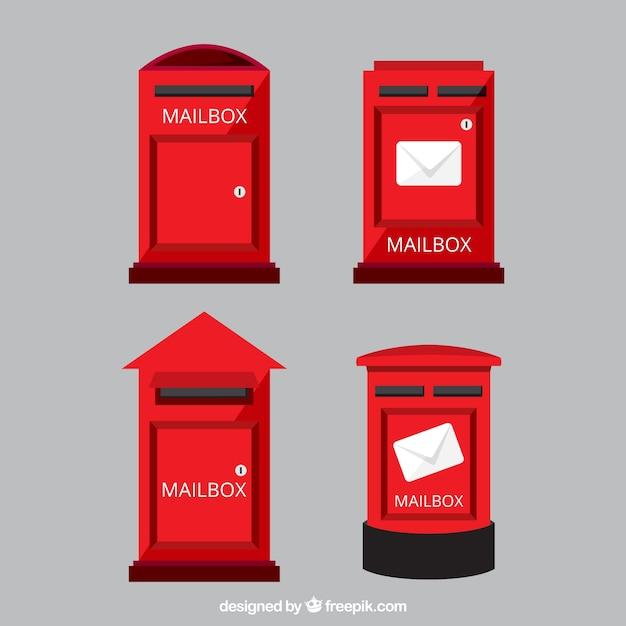 Ensemble de boîtes aux lettres rouges Vecteur gratuit