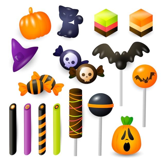 Ensemble de bonbons et bonbons d'halloween Vecteur gratuit
