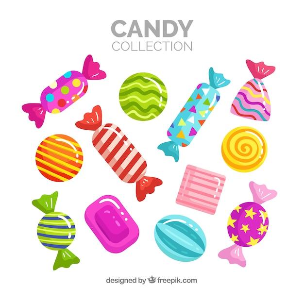 Ensemble de bonbons délicieux Vecteur gratuit