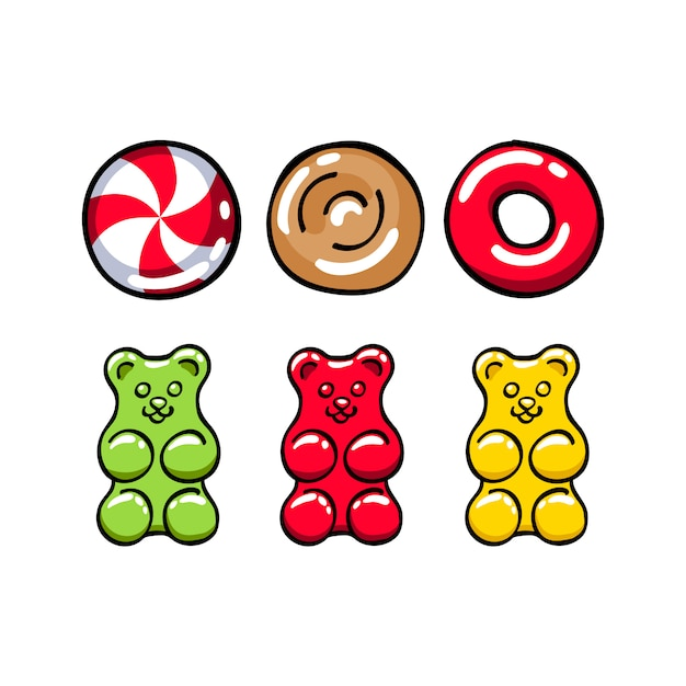 Ensemble de bonbons durs colorés et oursons gommeux Vecteur Premium